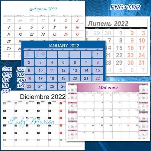 Календарные сетки для помесячных перекидных календарей на 2022 год