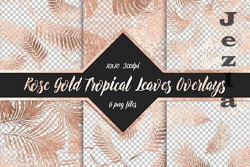 Rose Gold Tropical Leaf Overlays - 1158328
