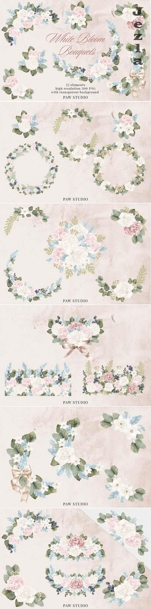 Wedding Flowers Frames Bouquets Borders Peonies Rose Clipart - 1167868