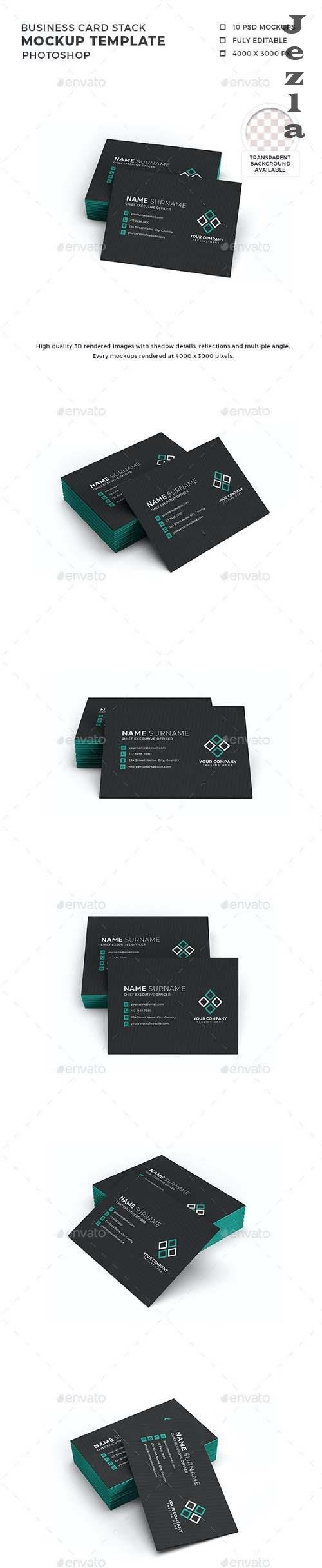 Business Card Stack Mockup Template - 30049199