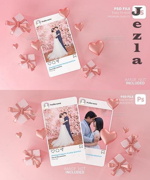 GraphicRiver - Instagram Post Mockup Template Valentine Wedding Love Heart Shape and Gift Box 3D Rendering 30090323