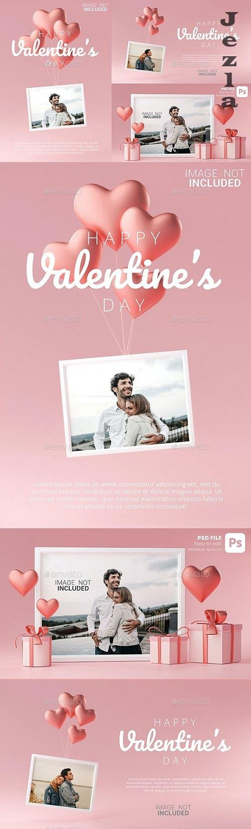 GraphicRiver - Portrait Photo Frame Mockup Template Love Heart Ballon and Gift Box 3D Rendering 30090480