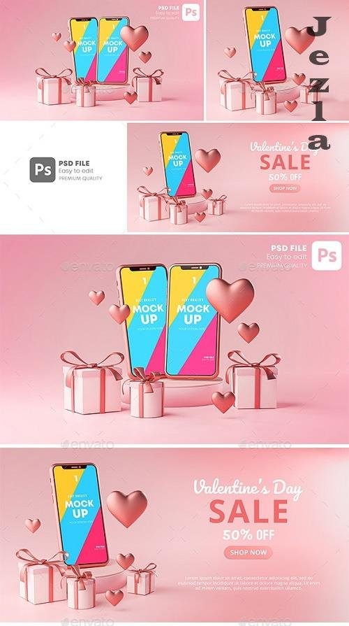 GraphicRiver - Smartphone Mockup Valentine Day Sale Love Heart Shape and Gift Box 3D Rendering 30090503