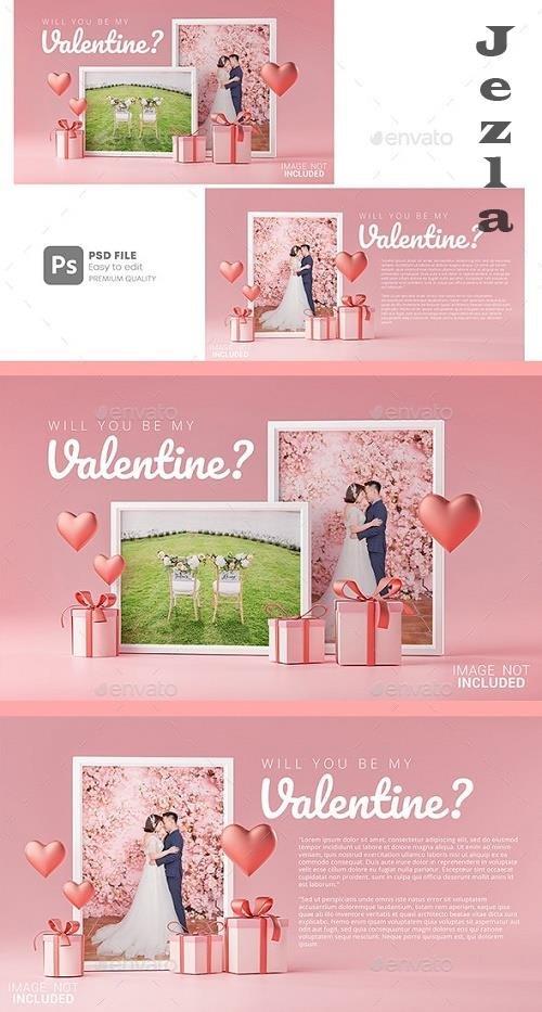 GraphicRiver - Photo Frame Mockup Template Love Heart Valentine Wedding Invitation Card Design 30090490