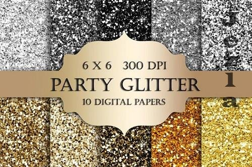 Gold and Silver Glitter Digital Paper - 1169631