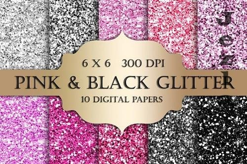 Pink and Black Glitter Digital Paper - 1169731