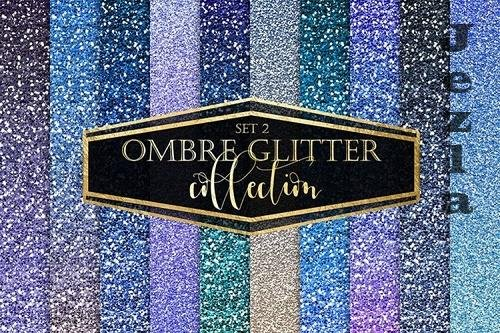 Blue Ombre Glitter Digital Paper - 1169792