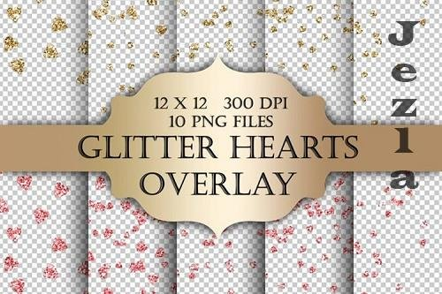 Glitter Hearts Digital Clip Art Overlay - 1170684