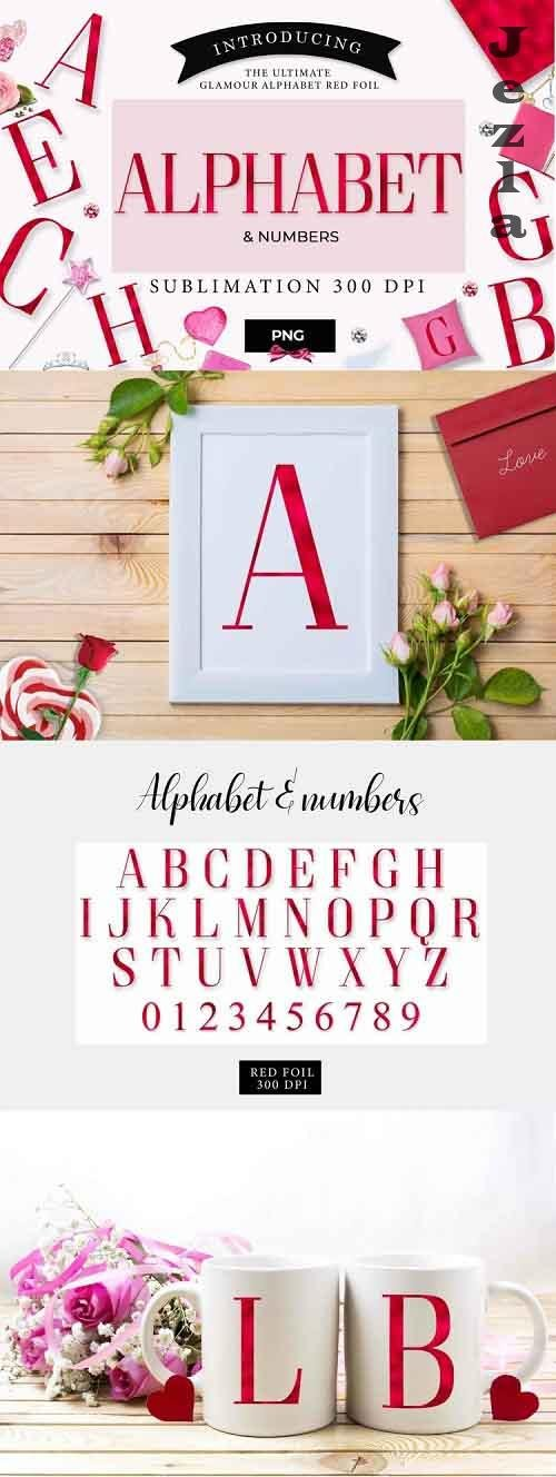Alphabet & numbers, letters, red foil, sublimation - 1170088