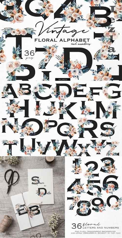 Vintage floral alphabet - 1171747