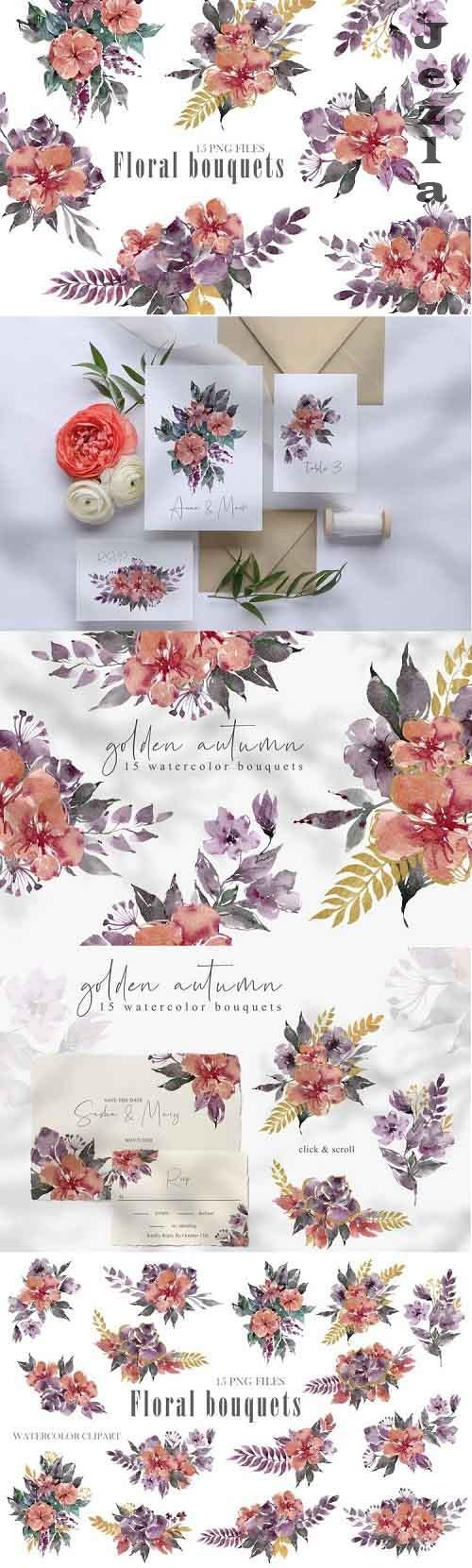Watercolor bouquets clipart. Summer wreath png files - 911828