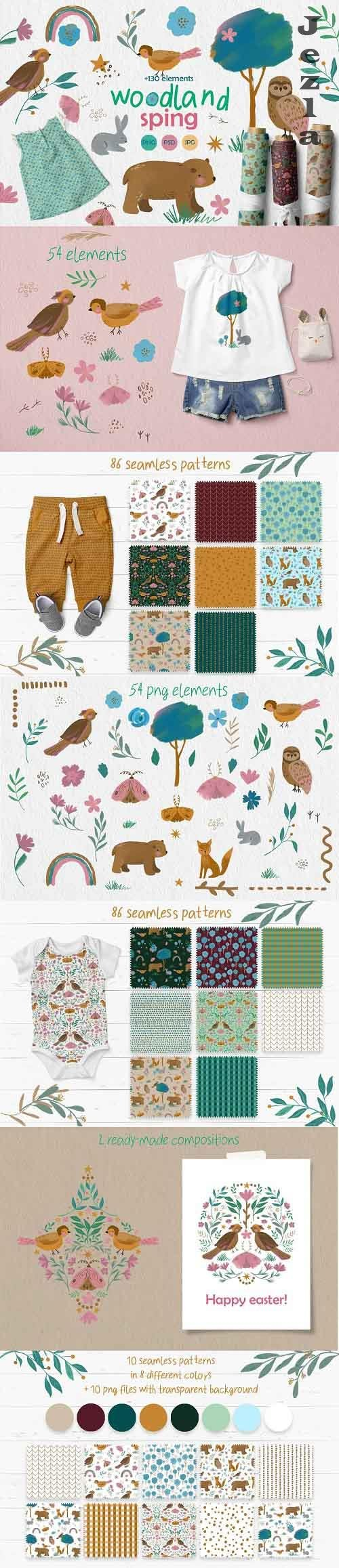 Woodland spring, clipart & patterns - 5830263