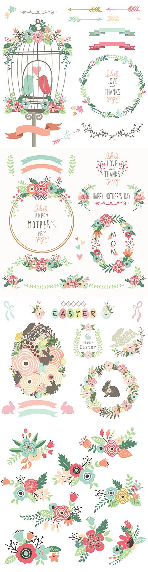 Easter, love bird cage and wedding bouquet retro painted design