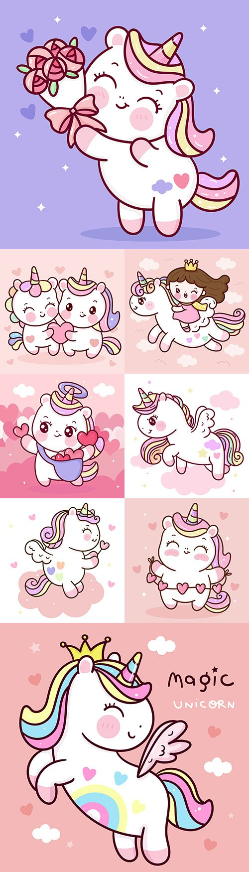 Cute unicorn princess cartoon with Pegasus wing