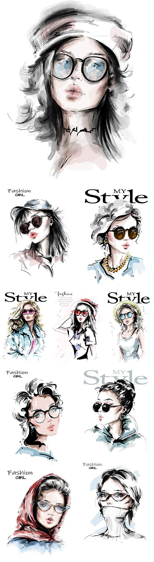 My style Hand drawn beautiful young and fashion girl 5