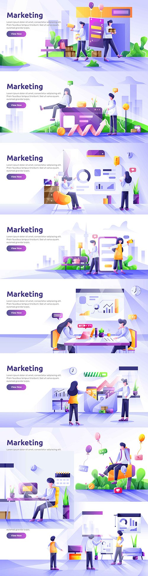 Social media marketing template landing page modern illustration