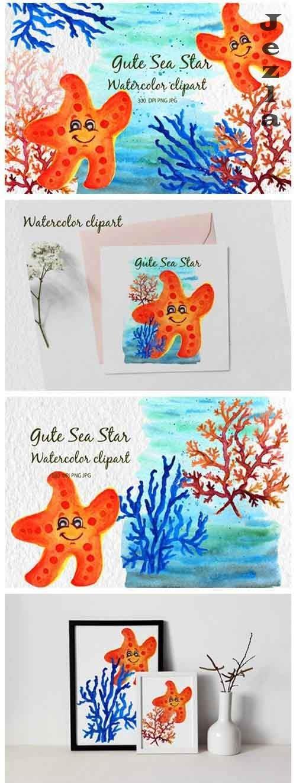 Watercolor starfish Gute starfish Watercolor sea cartoon - 1173378