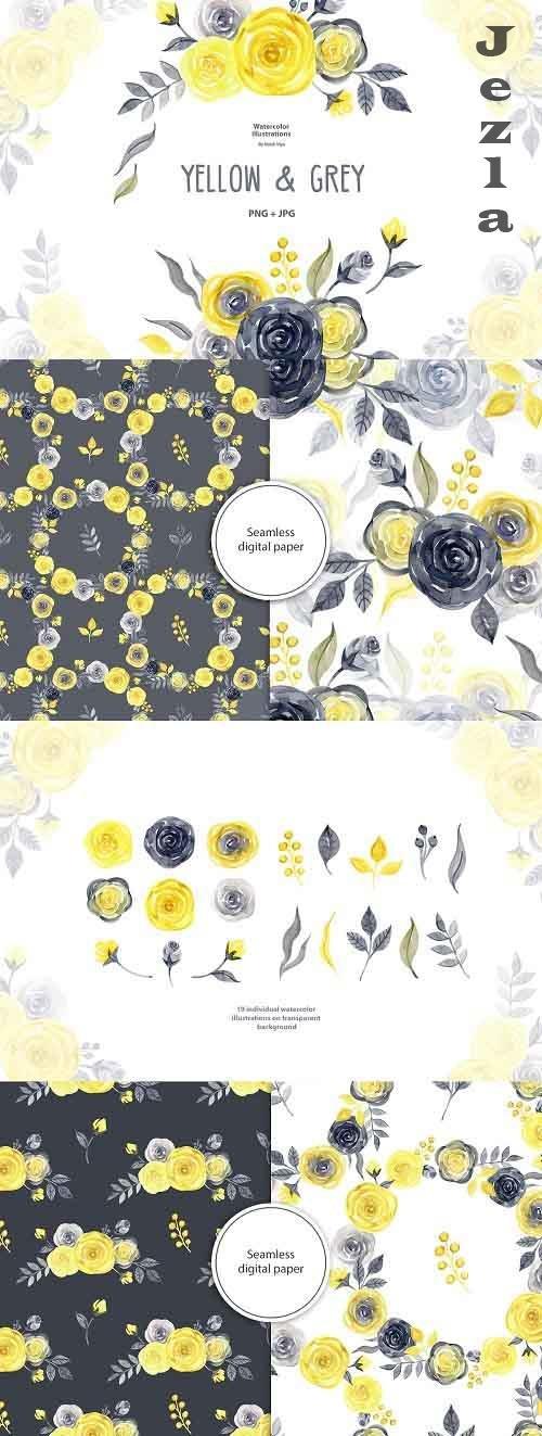 Watercolor yellow & gray roses - 5786496