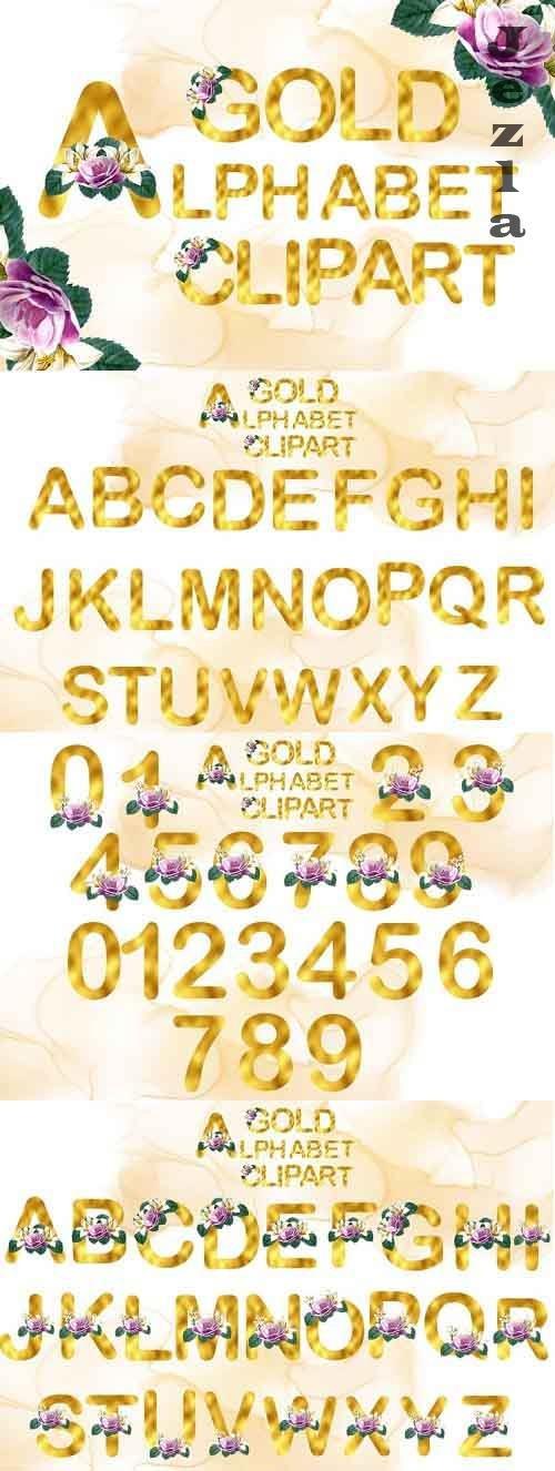 Gold Watercolor Rose Alphabet Clipart - 1176398