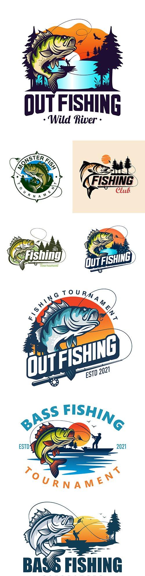 Bass fishing logos design company business