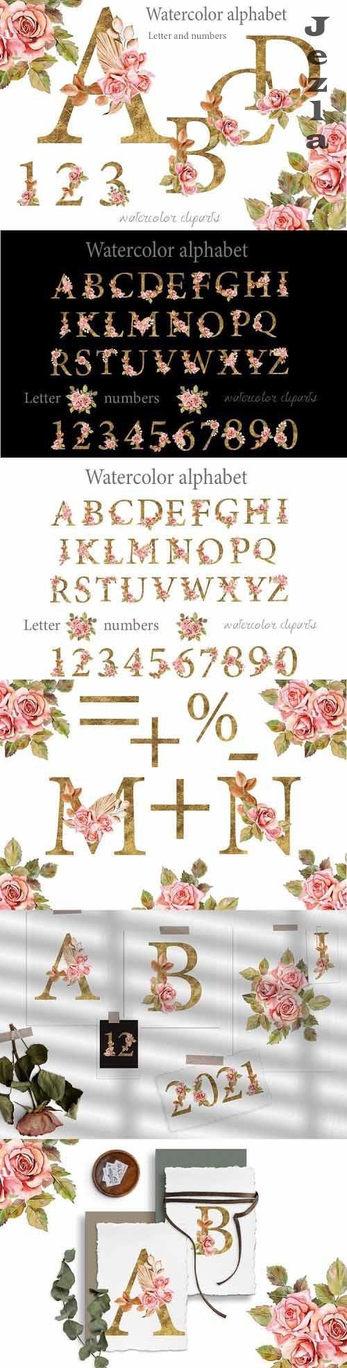 Boho roses and Gold alphabet clipart - 1178896