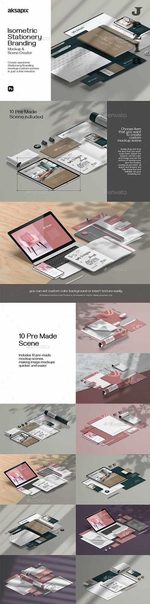 GraphicRiver - Isometric Stationery Branding - Mockup Scene Creator 30198161