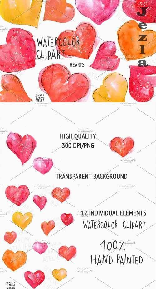 Watercolor Hearts Clipart - 5785941