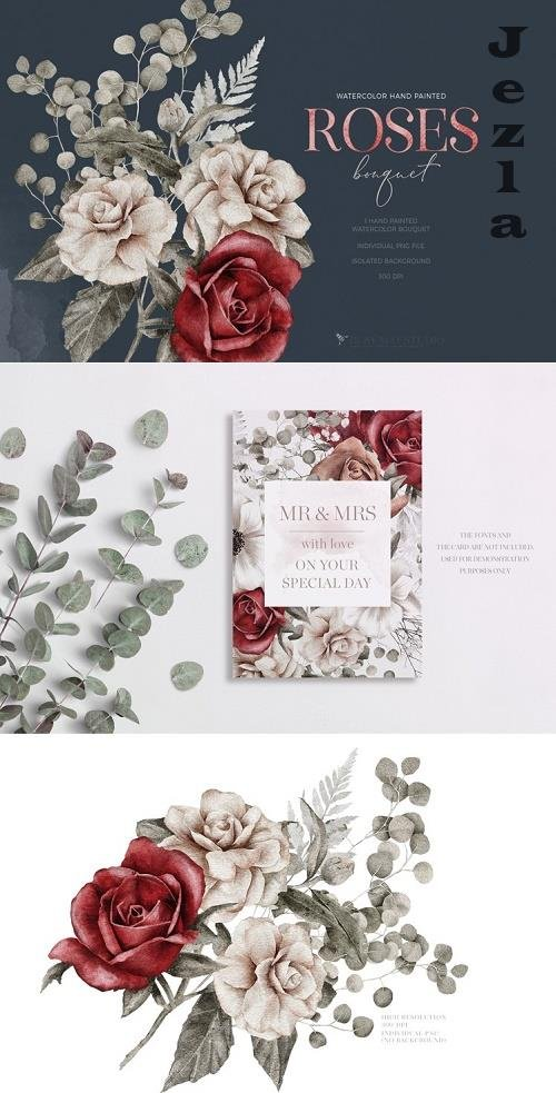 Watercolor Roses Spring Bouquet Spring Flowers PNG - 1186977