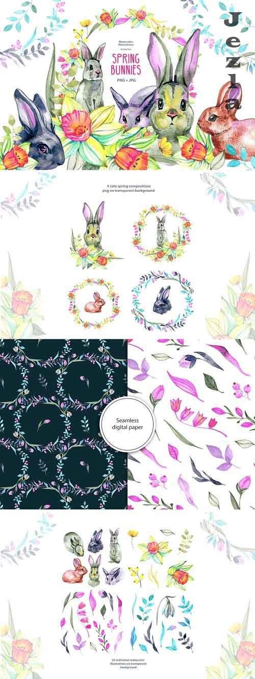 Watercolor spring bunnies - 5859639