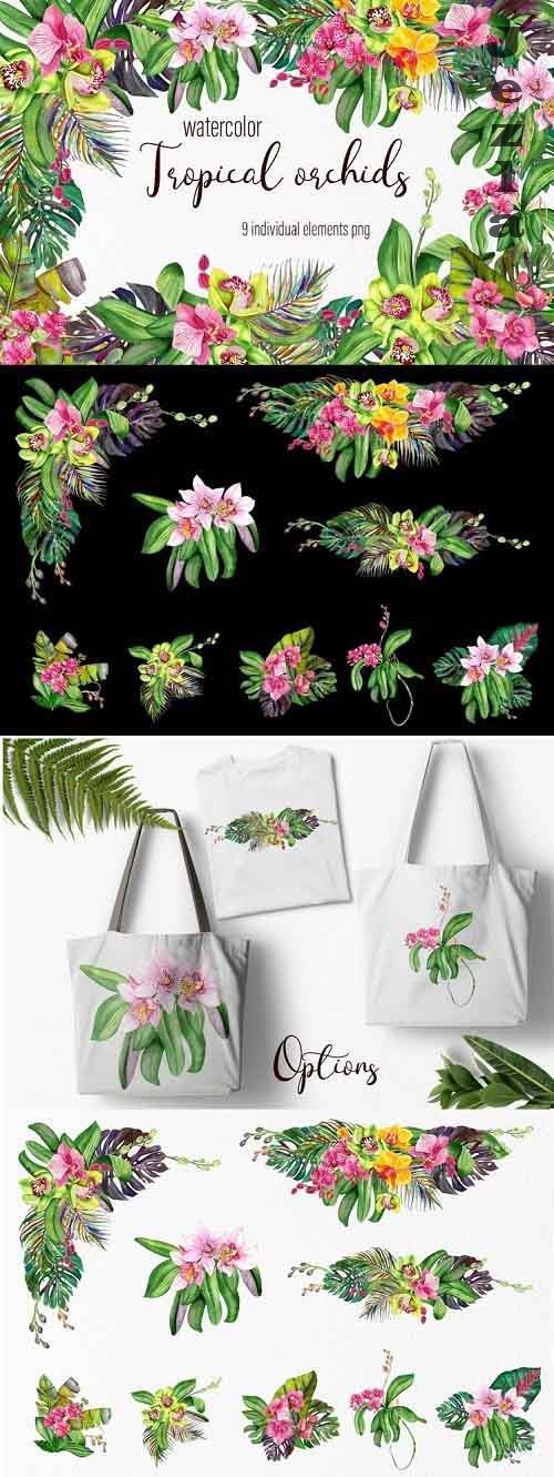Watercolor orchids bouquet clipart - 1188424