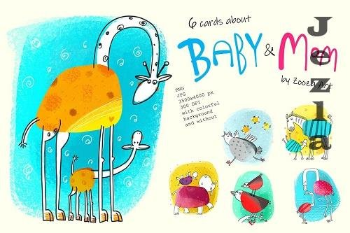 6 illustrations about Baby and Mom - 5863218