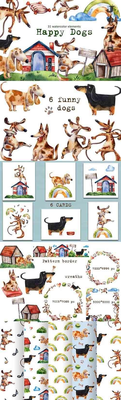 Happy Dogs - Watercolor Clip Art Set - 5853753