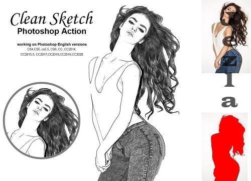 CreativeMarket - Clean Sketch Photoshop Action 5222566