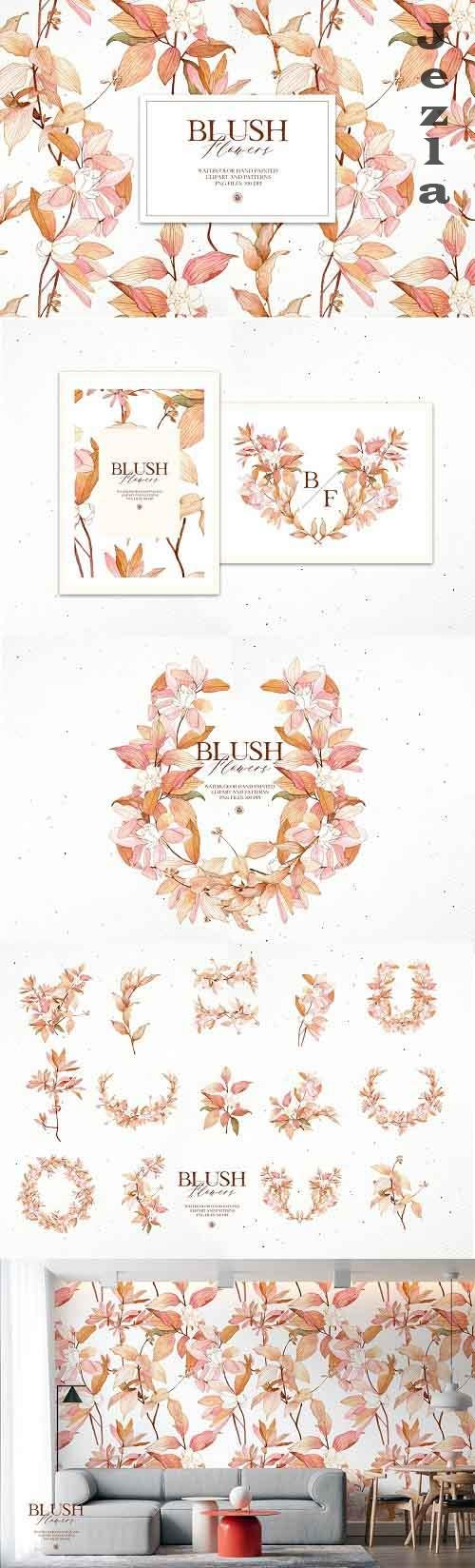 Blush Flowers - watercolor set - 5867753
