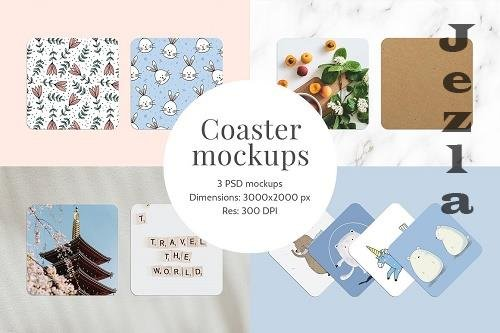 Coaster mockups | 3 PSD files - 5869107