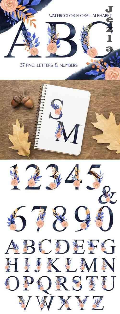 Watercolor Navy Blue Floral Alphabet Clip Art - 1195566