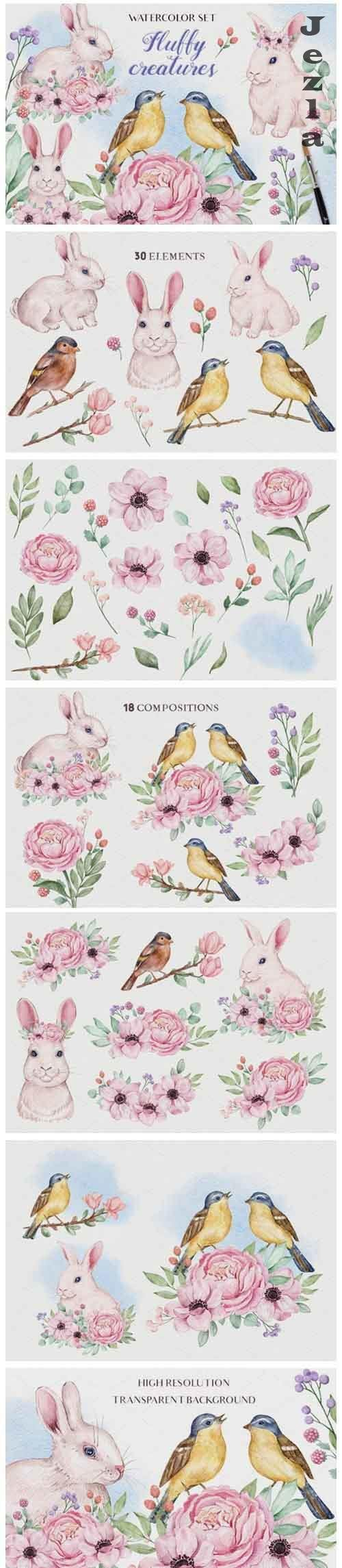 Fluffy Creatures - Watercolor Set - 5862626