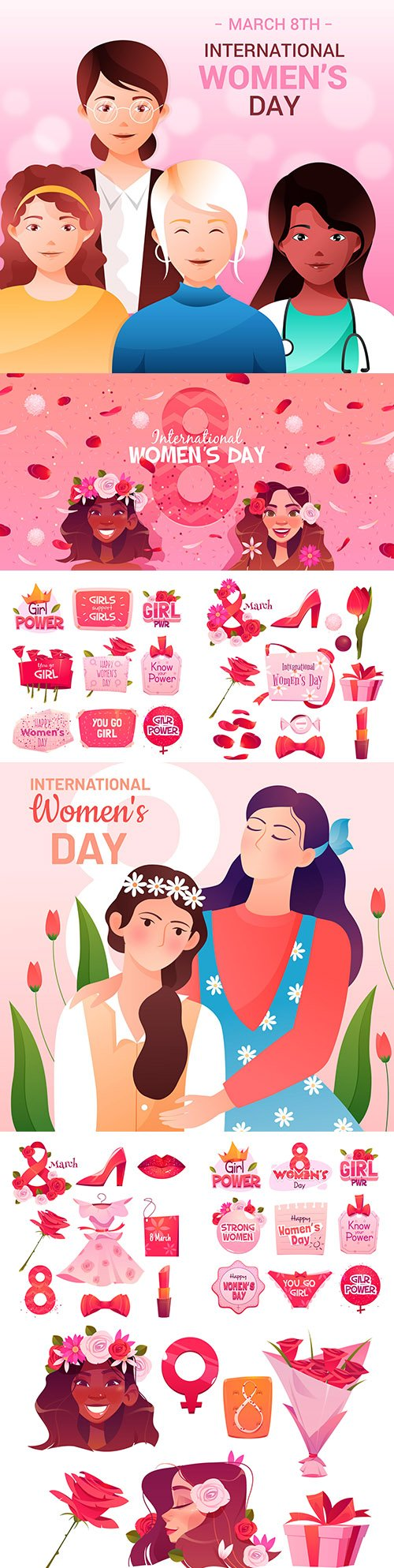 Happy Women's Day March 8 design illustrations 4