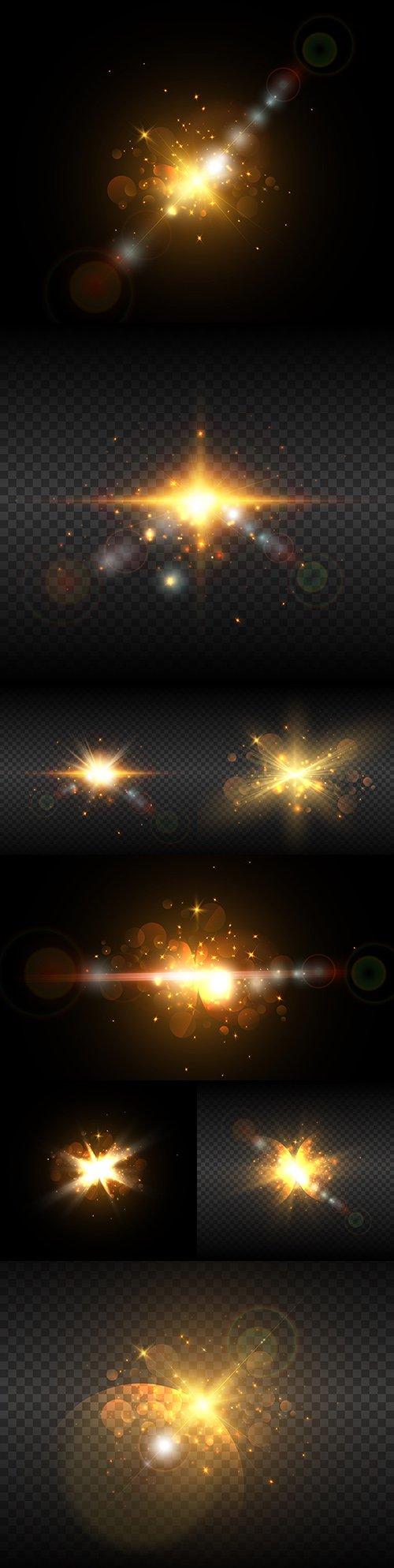 Light effects gold sparkling elements dark background 22