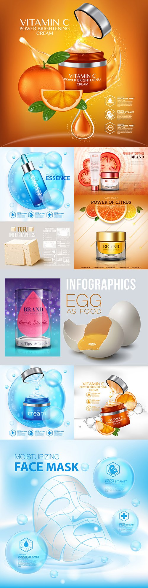Serum with vitamin and moisturizing essence beauty products advertising