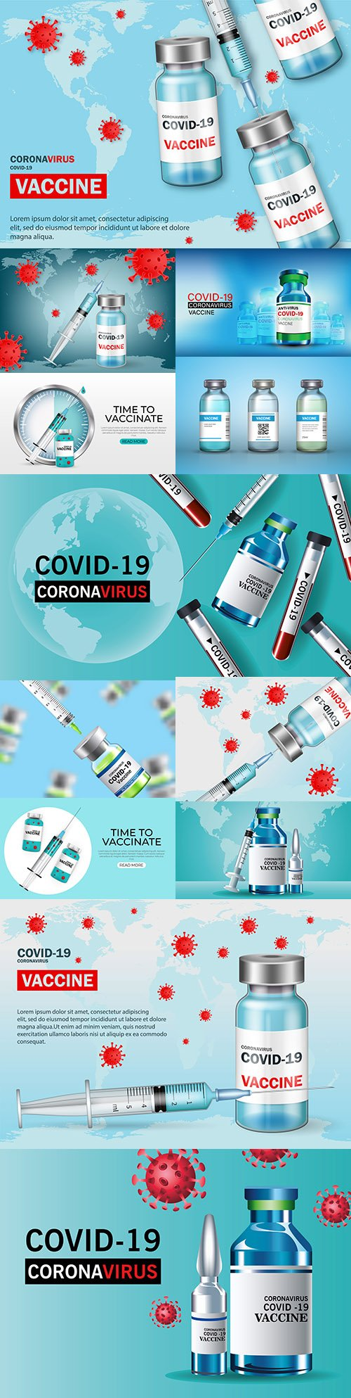 Vaccination against covid-19 vaccine bottle and injection tools 3d realisti