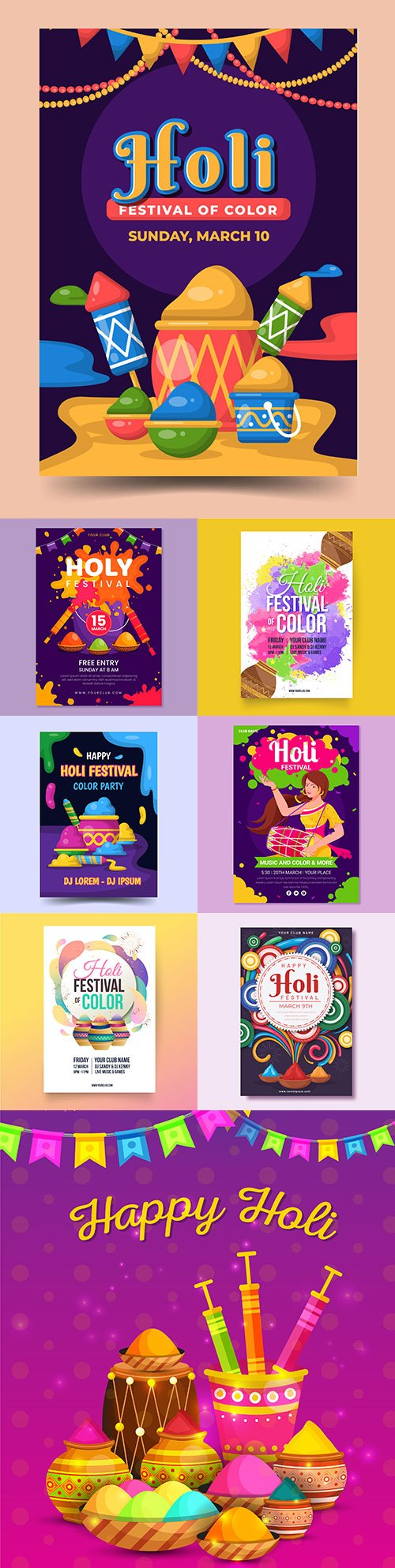 Happy Holi festival bright design poster template