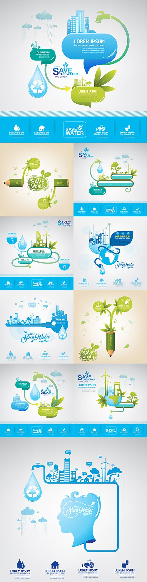 Save water and preserve ecology in world concept of infographics