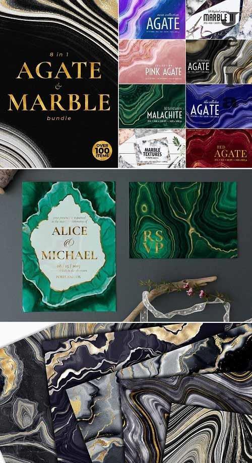 Agate, Marble & Gold Textures Bundle - 5877271