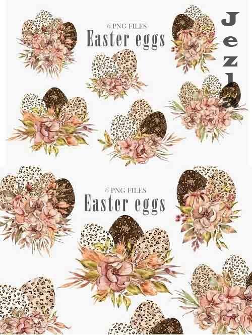 Watercolor Easter leopard eggs clipart. Floral bouquets - 1201581