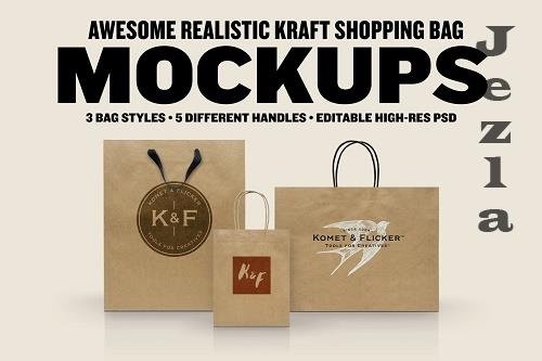 CreativeMarket - Realistic Kraft Shopping Bag Mockups 5819572