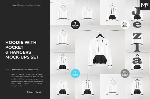 CreativeMarket - Hoodie with Pocket & Hangers Mock-up 5600958