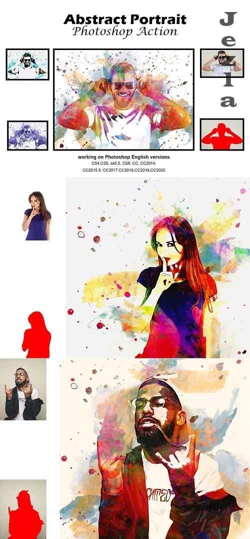 CreativeMarket - Abstract Portrait Photoshop Action 5188913