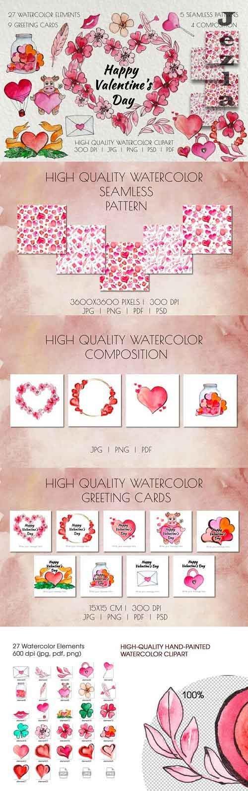 Valentine's Day Watercolor Clipart. Invitation, card design - 1191641