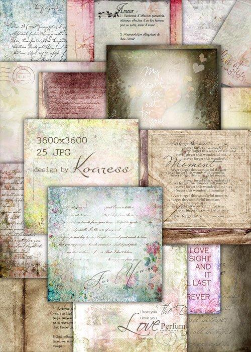 Винтажные фоны с романтическими надписями - vintage backgrounds with romantic word art